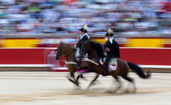 The 2014 Feria del Toro is opened by the galloping alguaciles, 'judges', in the plaza de toros (Photo: Jim Hollander)