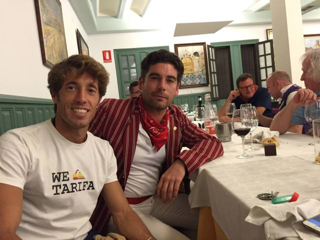 The matador Manuel Escribano and Alexander Fiske-Harrison (on heavy meds for his broken ribs) at dinner last night (Photo: Lore Monnig)