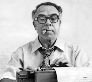 1977 file photo of Art Buchwald for obit. No info on back of photo as to source, but ran in LATimes in 1977.