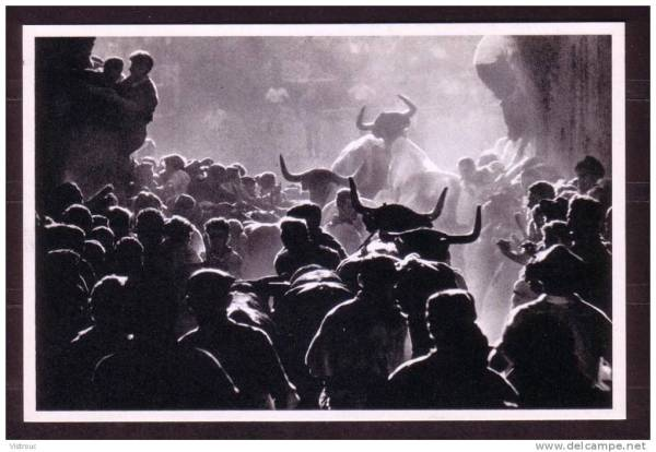 Photo from the 1958 World's Fair in Brussels, the Spanish Pavillion: 'PAMPLONA - Encierro de toros'